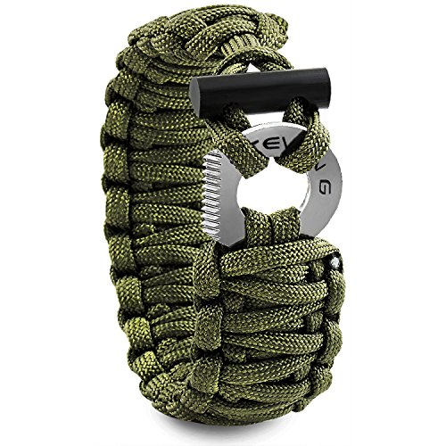 STEVEN G Mens Survival Gear Adjustable Professional Paracord Fashion Sport Bracelet with Firestarter and Striker/Cutter for Outdoor Adventures Prime Gift, Army Green