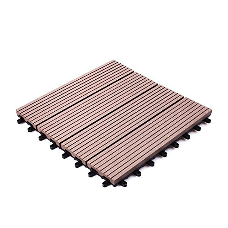 プロジェクターピース途方もないアイリスプラザ ジョイントタイル 十文字溝付 4割 人工木 ブラウン 9枚セット