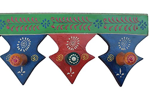 Wooden 3 Pointed Shaped Wall Hooks Rajasthani Pink City Handmade Handicraft Gift Item Home Decor Showpiece