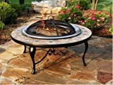 Catalina Creations 40″ Round Heavy Duty Mosaic Patio Fire Pit with Stainless Steel Bowl, Copper Accents, Spark Screen, and Accessories Review