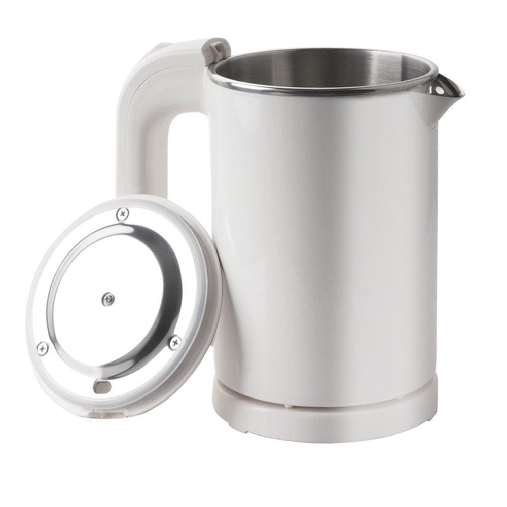 DCIGNA Stainless Steel Electric Kettle Small, 0.5L Portable Travel Kettle, Mini Electric Water Kettle - Perfect For Travelling, Coffee, Tea (White- 110V)