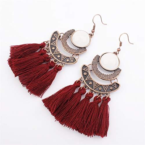 (Meolin Bohemian Tassel Earrings Hoop Earrings Long Fringe Teardrop Hook Earrings Jewelry Accessories Gift for Lovers,Red Wine)
