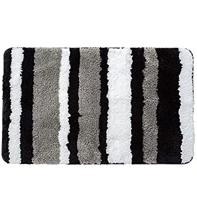 "HEBE Bath Rugs for Bathroom Non-Slip Absorbent Bathroom Rug Machine Washable Bath Mat Kitchen Floor Rug (Black/Grey,18×26"") - [Super Water Absorption]:This bath rug is constructed with 15 mm high shag microfiber, soft fiber pile make it possible to absorb water rapidly. Do not need to bother with the absorption anymore. [Soft Non-skid Rubber Backing]:HEBE bathroom rug non-slip bottom is made of durable TPR material which has a bit heavy weight. This anti-skid backing has practically slip resistance on the floor surface, that it won't slip or slide to keep you more safe and cozy. [Comfortable & Durable Bath Mat]: Unique fiber-locking technique,say goodbye to horrible fibre-dropping!The microfibers are very dense and not easily turn deflated after use, so it can maintain a new look.Every time you step out of the shower or bathtub, you can enjoy superior comfort. - bathroom-linens, bathroom, bath-mats - 51izQ2NGSXL. SS400  -"