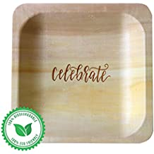 """""""Celebrate"""" Disposable Dessert Plates (50-pack)—100% Natural and Eco-Friendly, Elegant Alternative to Traditional Plastic Dessert Plates, Cake Plates and Party Plates (5.5""""x5.5"""")"""