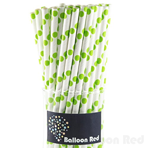 Biodegradable Paper Drinking Straws (Premium Quality), Pack of 100, Polka Dot - Lime