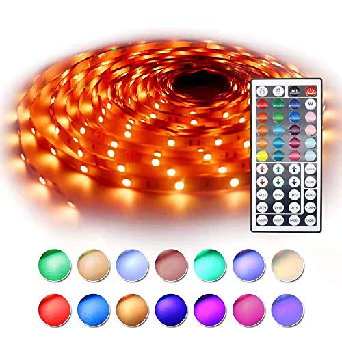 (RaThun LED Strip Light 32.8ft 5050 RGB 300led Strips Lighting Flexible Color Changing Rope Lights Full Kit with 44 Key IR Remote Ideal for Home, Kitchen Lighting Decorative,DC 24V 3A)