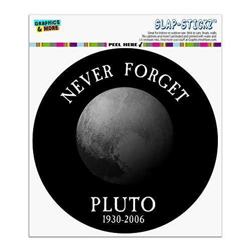 Astronomy Sticker - Graphics and More Never Forget Pluto Planet Astronomy Memorial Funny Automotive Car Window Locker Circle Bumper Sticker