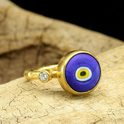 (Blue Evil Eye Ceramic Ring 925 Sterling Silver 24K Yellow Gold Vermeil Cubic Zirconia Handcrafted Hammered Roman Art Handmade Traditional Designer Turkish Jewelry)