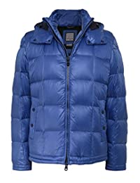 Geox Men's Hooded Puffer Down Jacket Colony Blue