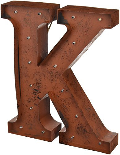 the gerson company k led lighted metal letter with rustic brown finish and timer function