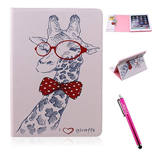 Ipad Wristlet (iPad Air 2 Case, Firefish iPad Air 2 Cover [Kickstand] [Bumper] PU Leather Protective Skin Anti-Slip Lightweight [Card Slots] Case for Apple iPad Air 2 - Giraffe Animal)