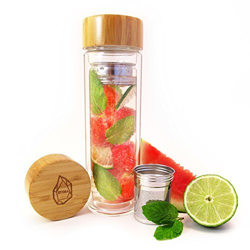 Evosa Hydrate Tea Tumbler, Fruit Infuser, & Coffee Maker with Dual Glass, Stainless Steel Filter/strainer, & Bamboo Lid - Recipe eBook and Sleeve Included
