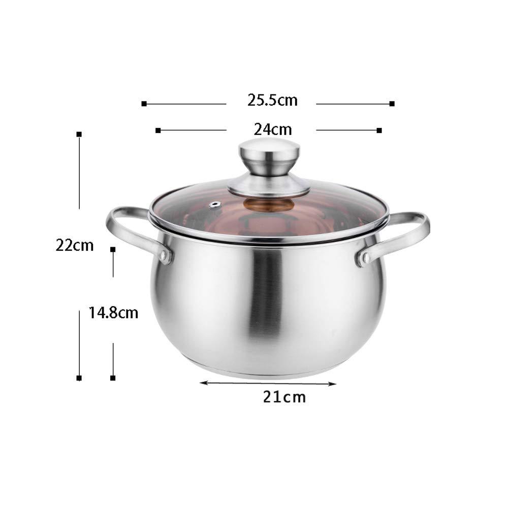 el mas reciente 24cm ZN-pot Olla de Acero Inoxidable Olla de Sopa Sopa Sopa Multiusos de Gran Capacidad con Tapa de Vidrio Templado Resistente a Las Grietas fácil de Limpiar, Estufa de Gas Cocina casera Olla de cocción 3.6L 20CM 6.2L  muchas sorpresas