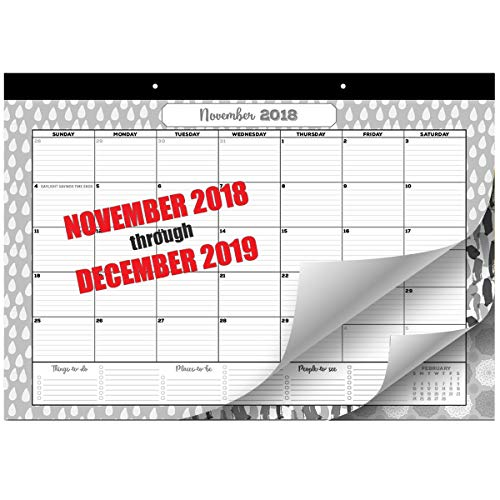Desk Calendar | Wall Calendar 2018-2019 | Monthly Planner Runs from September 2018 - December 2019 | 17X11.4 | Hanging Wall Calendars with Thick Paper | Desk Pad Calendar for Family & Office