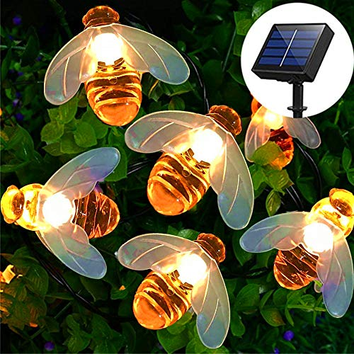 Solar String Lights, 8 Lighting Modes 30 LED Solar Fairy Lights Outdoor Waterproof Simulation Honeybees Decor for Garden Patio Flower Trees Xmas Decorations (Warm White)