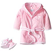 Rene Rofe Baby Baby 2 Piece Bath Robe and Bootie Set, Pink Heart, 0-9 Months