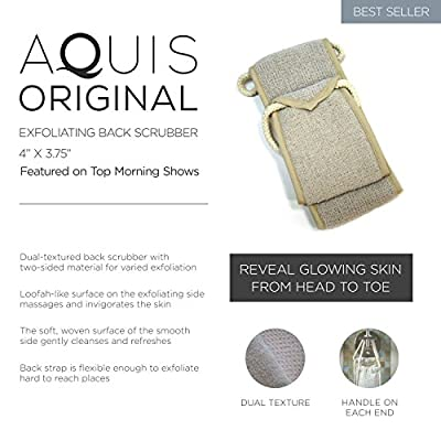 Aquis - Exfoliating Back Scrubber, Deep Clean & Invigorate Your Skin (4 x 30.75 Inches)