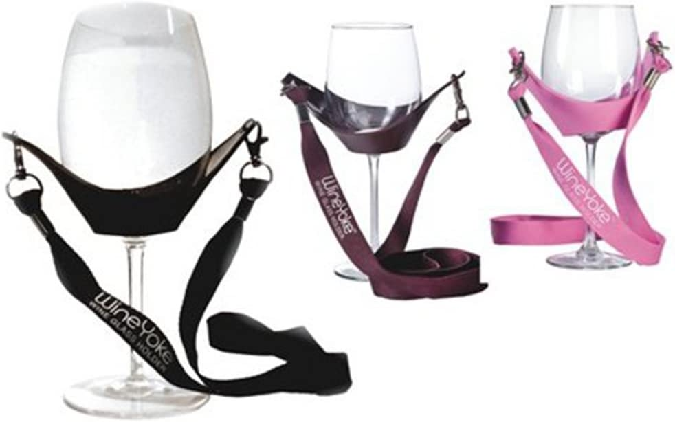 White Hands Free Wine Glass Holder w// Black Simple Lanyard x 2 sets