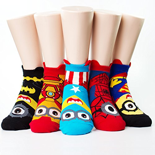 Evei Minions Super Hero Cute Charater Cartoon Series Socks 5paris(5color)=1pack