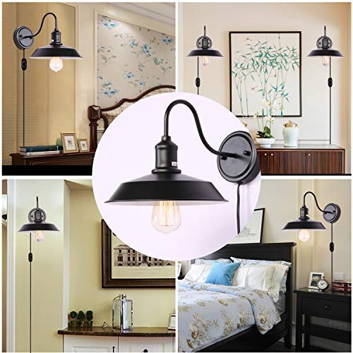 Kingmi Dimmable Wall Lamp Black Industrial Vintage ...