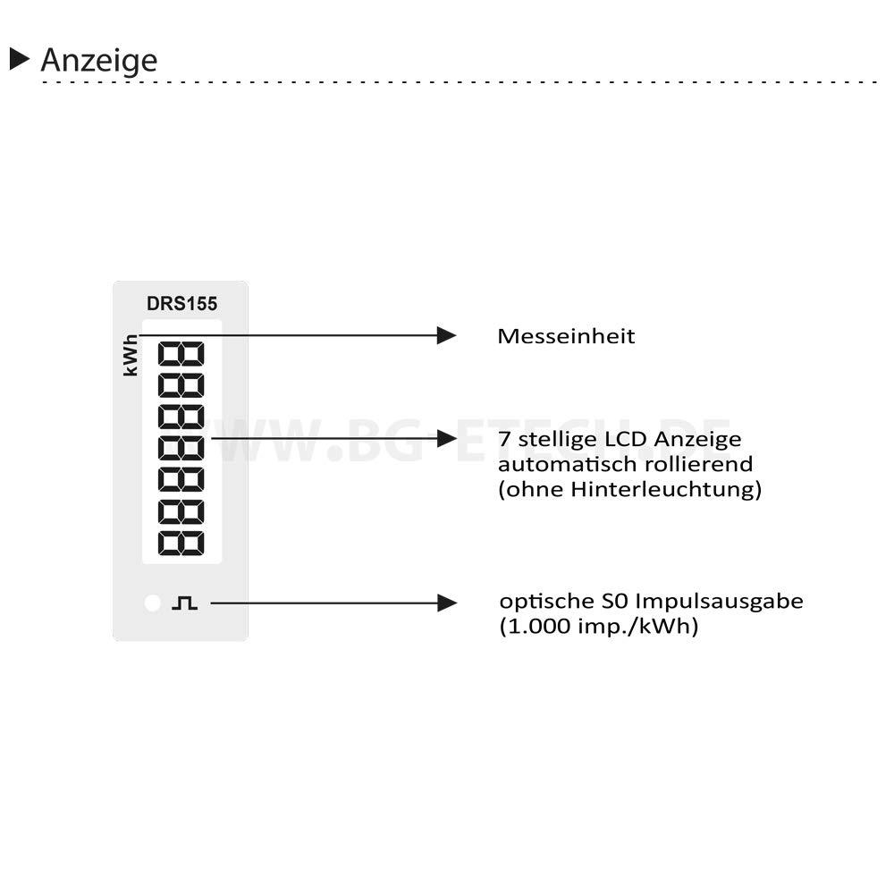corriente de carga 5 Contador de corriente alterna digital con pantalla LCD y S0 para carril DIN B+G E Tech DRS155DE 50