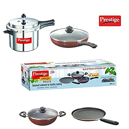 985aa5eb4 Buy Prestige Popular 5L Pressure Cooker + Prestige Build Your Kitchen Set  of 3 P Non-Stick Cookware Combo Offer Online at Low Prices in India -  Amazon.in