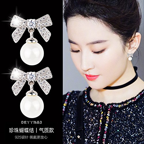 usongs s925 silver needle delicate elegance earrings Micro Pave diamond bow fashion pearl earrings women girls