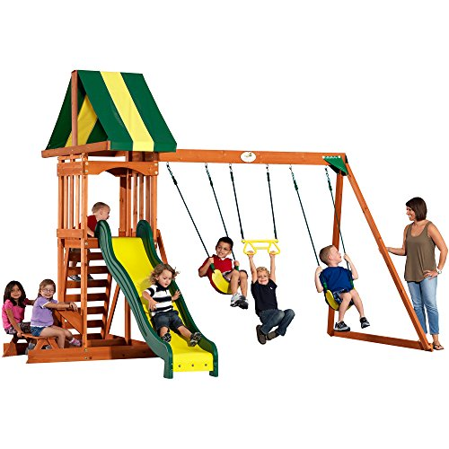 Backyard Discovery Prestige All Cedar Wood Playset Swing Set (Wooden Small Swing Sets)