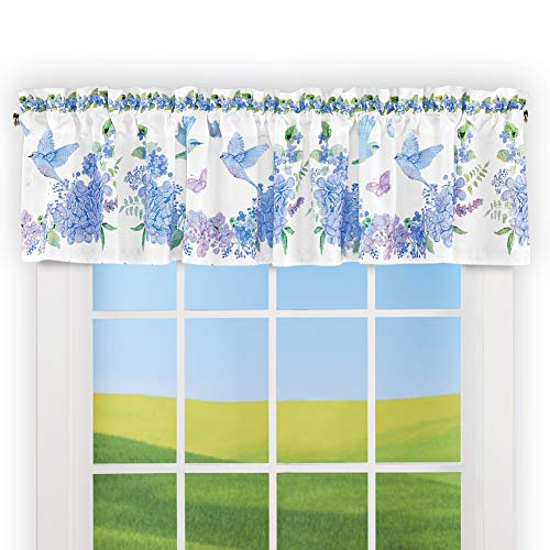 Collections Etc Bird Floral Blue and Purple Wreath Window Valance - Spring Decor for Bedroom