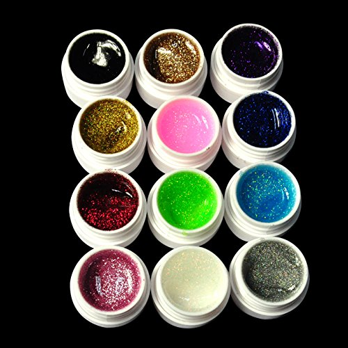 G beauty 12 color nail art nail decoration glitter uv for Avon nail decoration tool