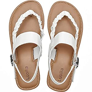 Luoika Women's Wide Width Flat Sandals - Braided Strap Flexible Buckle Thong Summer Shoes.