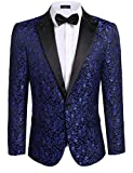 Coofandy Men's Floral Party Dress Suit Stylish Dinner Jacket Wedding Blazer...