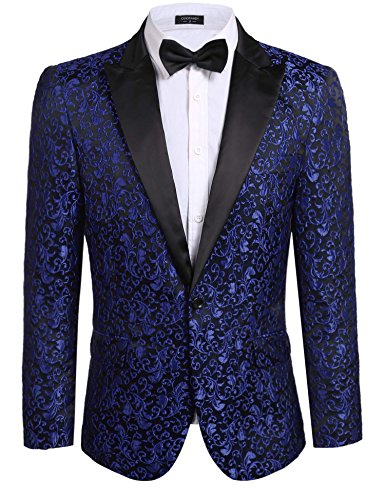 Coofandy Mens Floral Party Dress Suit Stylish Dinner Jacket Wedding Blazer One Button Tuxdeo Blue,US L(Chest 46.9