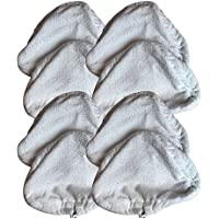 8 Replacements for Microfiber H2O Steam Pads Fit Ti & Steamboy Steam Mops, Washable & Reusable, by Think Crucial