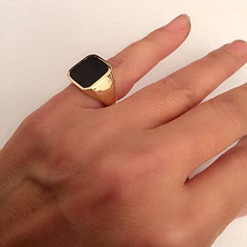 52d0fe7485a1f Amazon.com: Onyx Ring, Signet Ring, Gold Pinky ring, size 5 us: Handmade