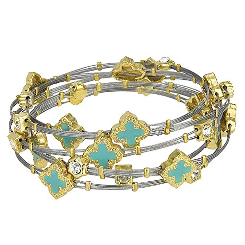 Enamel Quatrefoil & Crystal Rhinestones Two Tone Wire Bangle Set (Turquoise) (Bangle Set Enamel)