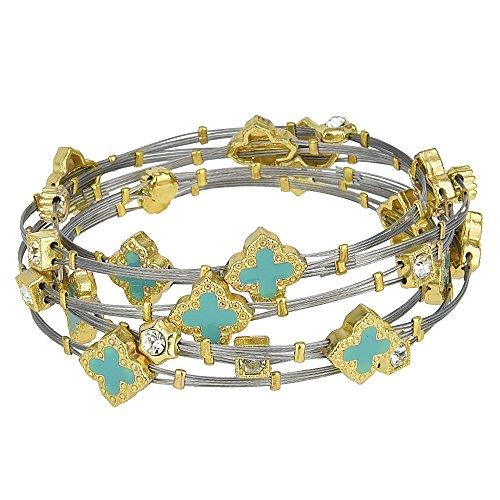 Enamel Quatrefoil & Crystal Rhinestones Two Tone Wire Bangle Set (Turquoise) (Set Enamel Bangle)