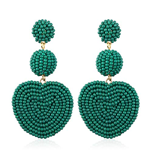 Statement Beaded Dangle Earrings for Women Girls Handmade Bohemian Heart Round Drop Lightweight Fashion Party Studs Ear Jewelry Accessories Present for Best Friends with Gushion Gift Box GUE145 Green ()