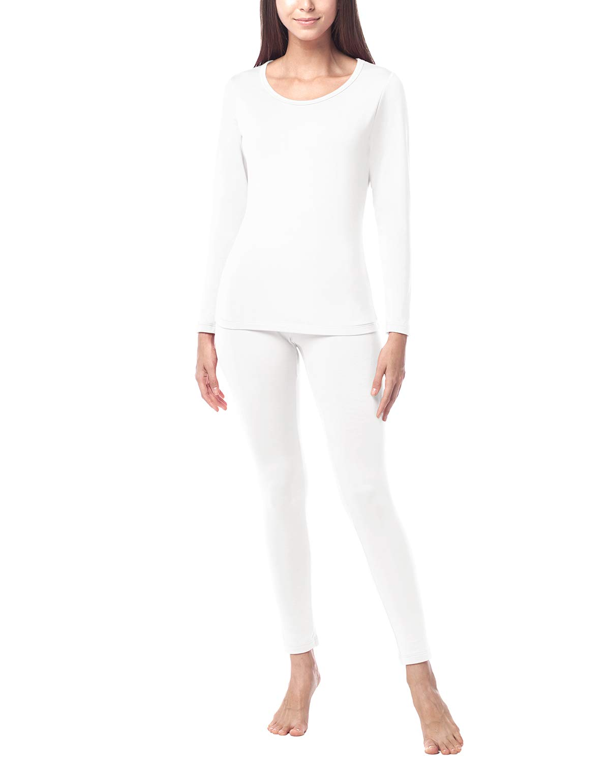 LAPASA Women's Lightweight Thermal Underwear Long John Set Fleece Lined Base Layer Top & Bottom L17 (Medium, White) by LAPASA