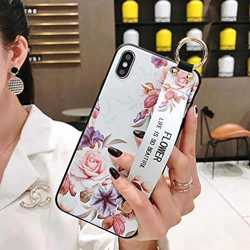 Maxlight Wrist Strap Phone Case for iPhone X Case for iPhone 7 8 Plus Xs max XR Leaves Flower Pattern Soft TPU Back Cover (B, for iPhone XR)