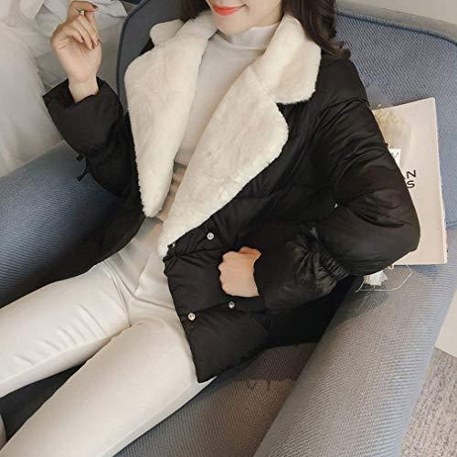 hiver fermeture matelassés de pour longues manches femmes élégantes Manteaux Schwarz couleur veste matelassée élégante manteau de poches avec vestes à automne boutons pure épaissir wcp4XqcW1n