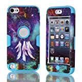 Lantier For iPod Touch 5 Case,Hybrid 3 Layers Hard Cover with Silicone Shell Inside Case Plastic TUFF Camo Triple Quakeproof Drop Resistance Protective for iPod Touch 5 5th Generation with Screen Protector and Stylus Pen Dreamcatcher/Blue