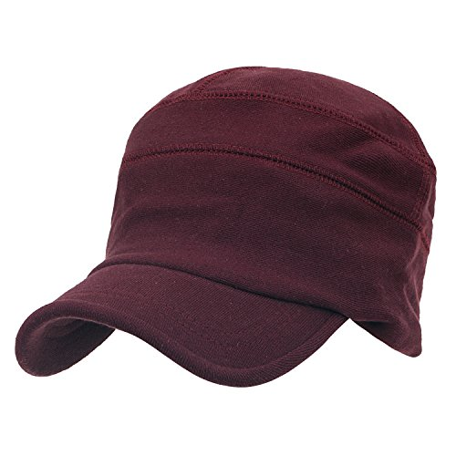 ililily Solid Color Cotton Casual Flex Fit Slouchy Work Cap Soft Hat, Wine Red, X-Large