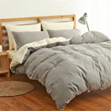 Simonshop Home Textile Bedding Set Soft Comfortable Bedclothes 4pcs Solid Color Duvet Cover Sets Full Queen King Size (Queen, grey)