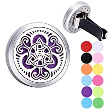 Celtic Knot Air Freshener Aromatherapy Essential Oil Diffuser Vent Clip Stainless Steel Locket with 12 Felt Pads