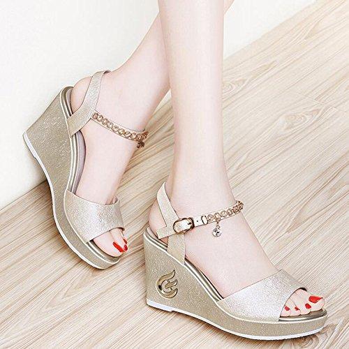 Sandals CJC Women's Open Toe Ankle Strap Wedge Heels (Color : Silver, Size : EU36/UK4) Gold