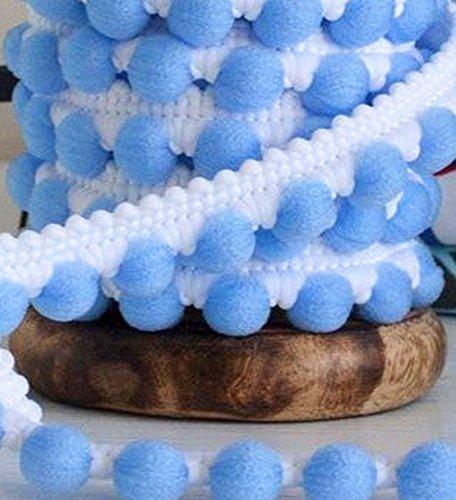 3, 0 lfm Mini Pomponband Breite 12 mm Weiss Blau Bommelborte Pomponborte Pompons Bommel Tassel Boules Ruban Bommelborte 12 mm Farbe Weiss Blau