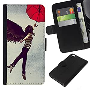 - BLACK UMBRELLA GIRL WOMAN DARK WINGS ANGEL - - Prima caja de la PU billetera de cuero con ranuras para tarjetas, efectivo desmontable correa para l Funny House FOR HTC Desire 820