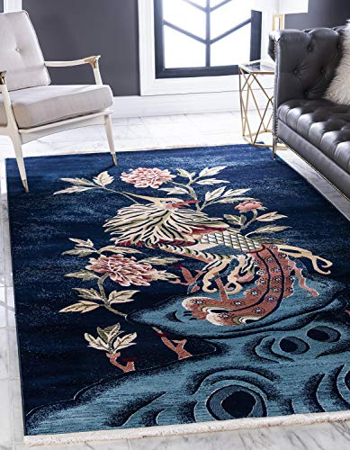 Unique Loom Gansu Collection Animal Antique Finish Chinese Pattern Navy Blue Area Rug (4' 0 x 6' 0)