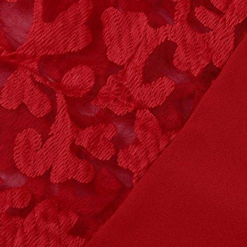 DAY8 chemise femme chic soiree manteau femme grande taille Printemps pull femme hiver blouse femme dentelle vetement femme pas cher chemisier femme été mode top haut t shirt fille fashion Rouge